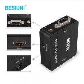 Full 1080P black Mini VGA to HDMI Converter With Audio VGA2HDMI 1080P Adapter Connector For Projector PC Laptop to HDTV