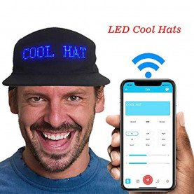 Caps bercahaya dipimpin tampilan multibahasa Bluetooth