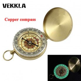 VEKKLA Compass New Outdoor Camping Hiking Portable Pocket Brass Gold Color Copper Compass Navigation with Noctilucence Display