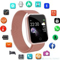 Stainless Steel Smart Watch wanita pria Android IOS Fitness Tracker