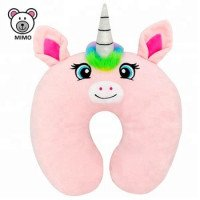 Cantik merah muda gadis lembut Plush Toy Unicorn U bentuk Travel bantal Cushion Custom cute Memory Foam anak istirahat Unicorn leher bantal