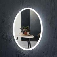 Oval bentuk Frameless cermin kamar mandi dengan lampu LED