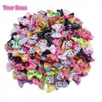 Anda busur 100 pcs/lot Mini Pringting pita busur PET Bowknot kerajinan hanya busur NO klip DIY Wedding Decor rambut aksesoris Grosir